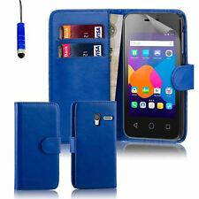 "32nd Book Wallet PU Leather Case Cover for Alcatel PHONES Screen Protector Pixi 3 4.5"" Deep Blue"