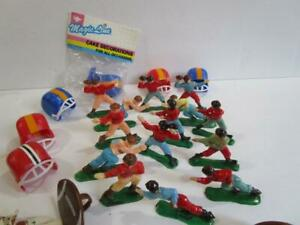 Vintage Plastic Football Player Cup Cake Topper Picks Rings Figurine Lot of 49