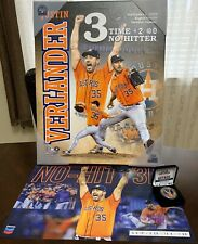 JUSTIN VERLANDER 3 NO HITTER LIMITED EDITION COIN, OFFICIAL RARE CANVAS & POSTER