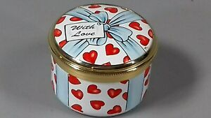 CRUMMLES BILSTON ENAMEL PILL BOX WITH LOVE BOXED