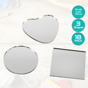 18 x Acrylic Mirror Mosaic Tiles Heart Round Square Decal Home Decor Crafts DIY