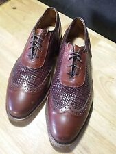 Allen Edmonds Hampstead 8 D Brown-Red Woven Oxford Wingtip Brogues Men's Shoe