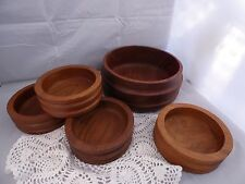 WOODEN SALAD BOWLS/ TEAK WOOD SERVING BOWL/ VTG RETRO MID-CENTURY MODERN/ CARVED
