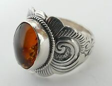 Ambre Cabochon Bague Argent 925 Vintage 80er silver ring