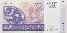 2004 Madagascan 1000 Ariary Madagascar Banknote Africa/Indian Ocean 5000 Ffrancs