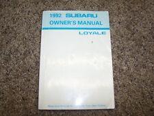 1992 Subaru Loyale Operator User Guide Owner Owner's Manual 1.8L