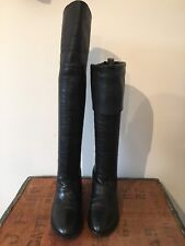 Russell & Bromley Womens Black Soft Leather Over Knee Fold Down Boots UK 5 EU 38