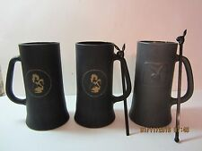 3 Vintage Playboy Club Black Frosted Glasses/Mugs & Swizzlers-1960's & 1970's