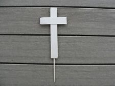 """Memorial Day Wood Cemetery Cross 10""""L x 4""""W Labor Day Silk 4"""" push in the ground"""