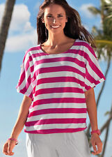 Longshirt - Gr. 34 36 38 40 42 44 46 48 - pink weiß - Sommershirt - Tunika Bluse