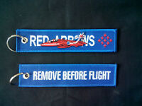 Cloth Keyring with Red Arrows on one side, Remove Before Flight on the other