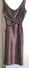 TED BAKER PINK & BROWN 100% SILK CROSS OVER BODICE TIE BELT DRESS  SIZE SMALL