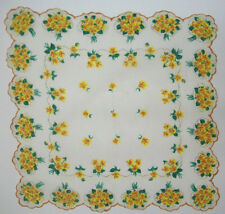 Yellow orange pansies orchids?  border floral design vintage handkerchief