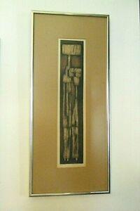 Vintage MCM 1960s Joseph Demarais Original Pencil Signed Lim.Ed Abstract Etching