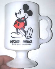 Disney Mickey Mouse White Glass Mug Cup Vintage Retro Walt Productions USA