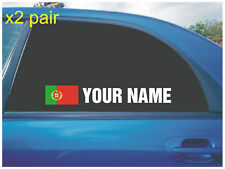YOUR NAME RALLY RACE CAR WINDOW STICKER DECAL PORTUGAL FLAG WHITE X2 ALL COLOURS