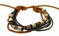 Mens Black Brown 5 Leather Strap Surf Wristband Bracelet Adjustable Surfer