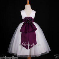 WHITE/PLUM DARK PURPLE WEDDING BRIDAL FLOWER GIRL DRESS 18M 2/2T 3/4 6 8 10 12