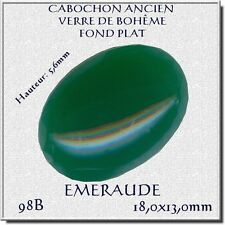 98B *** 12 CABOCHONS ANCIENS VERRE BOHÊME OVALES 18X13MM VERT EMERAUDE