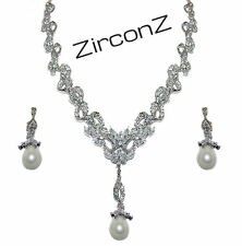 PAVE & CLUSTER  CUBIC ZIRCONIA & PEARL WEDDING EARRING & NECKLACE TENNIS  SET