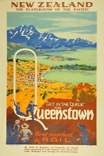 VINTAGE NEW ZEALAND QUEENSTOWN TRAVEL A2 POSTER PRINT