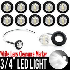 """10X White 12V 3/4"""" 3LED Mini Round Side Marker Lamp Trailer Bullet License Light"""