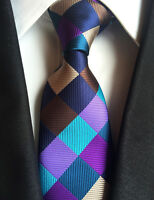 New Classic Checks Purple Blue Brown JACQUARD WOVEN 100% Silk Men's Tie Necktie