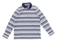 Lincoln Mens Size L Cotton Blend Striped Grey Polo Shirt