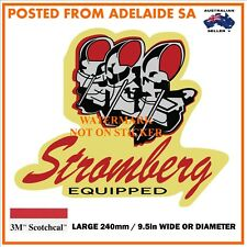 VINTAGE STROMBERG CARBY DECAL STICKER LABEL 9.5 INCH DIA 240 MM HOT ROD