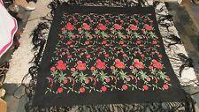 "Silk Shawl Wrap Embroidered Piano Scarf Antique Vtg Black 47"" X 51"" Fringe 15"""