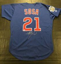 SAMMY SOSA 1999 Game Used Signed Alt Blue Knit Jersey Cubs Grey Flannel LOA JSA