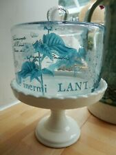 Ceramic Medium 17cm Cake Stand & French Vintage Style Glass Dome Lid