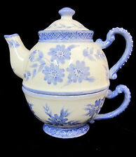 TeaPot Make the Season Bright & Cup Blue Ceramic