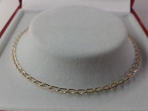 9ct Gold Ladies Solid Curb Link Anklet.  Hallmarked. 9.5 inch.