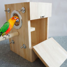 Small Pet Bird Nest House Wooden Breeding Box for Parrot Parakeet Cockatiel