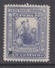 PERU, 1895 President's Installation 1c. Slate Violet, ABN Punched Proof, mnh.