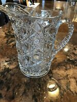 """Vintage EAPG Clear Glass Pitcher Crystal 7"""""""