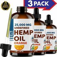 Orange Hemp Oil For Pain Relief Anxiety, Sleep 3 Pack 25 000 mg