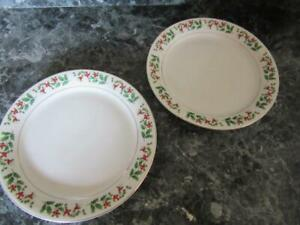 "GIBSON HOLIDAY GOLD TWO DINNER PLATES BLUE BACKSTAMP 9 7/8"" HOLLY BERRIES"