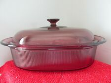 Vision Corning Ware Cookware Cranberry 4 Qt Liter Oval Roaster w/ Lid V-34 B Usa