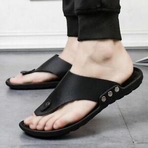 Men's Faux Leather Flip Flops Sandals Walking Toe Post Summer Casual Beach Shoes