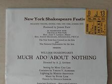 August 1972 - Delacorte Theatre Playbill w/Ticket - Much Ado About Nothing