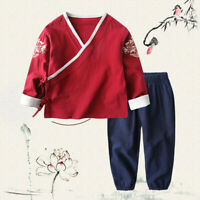 Kids Costume Boys Girls Chinese Outfit Cotton Linen Outwear Tang Suit Ethnic Set