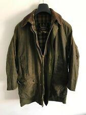 Mens Barbour Border wax jacket Dark Green coat 36 in size Small / Medium S/M #4
