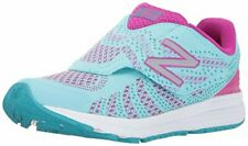 New Balance Girls' Rush V3 Hook and Loop Running Shoe, Blue/Pink, 2 Wide US Infa