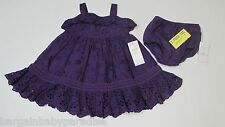 NWT Ralph Lauren 2 Pc. Wild Orchid Summer Dress & Bloomers Diaper Cover 9M $125