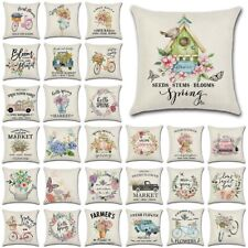 """18"""" Flower Market Spring Floral Throw Pillow Cover Linen Decoration Cushion Case"""