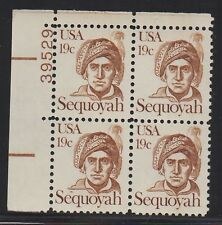 ALLY'S STAMPS US Plate Block Scott #1859 19c Sequoyah [4] F/VF MNH OG [STK]