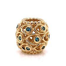 Pandora 14K Yellow Gold & Topaz Deep Blue Sea Charm Style 750817TPP! 144