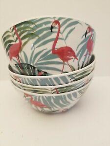 Cynthia Rowley Melamine Flamingos Set of 4 Bowls Green Palm Leaves New
